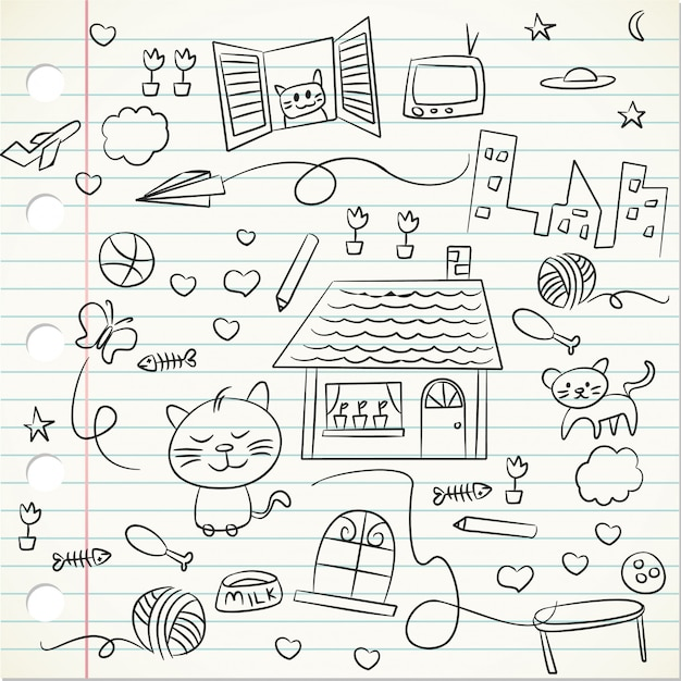 Garoto doodle em um papel