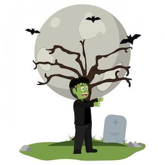 Garoto e desenho de halloween