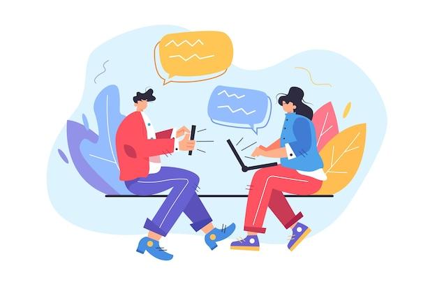 Garoto e garota conversando nas redes sociais por meio de dispositivos móveis