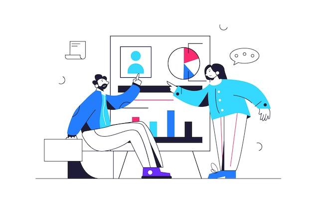 Garoto e garota discutindo projeto perto do mega quadro com gráficos e dados