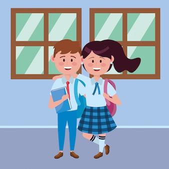 Garoto e garota garoto da escola