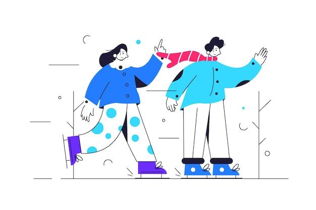 Garoto e garota patinando na pista de gelo no frio do inverno, cara usando lenço