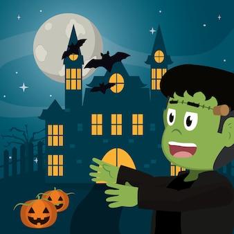 Garoto em desenhos animados de halloween