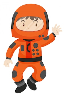 Garoto em traje espacial acenando olá