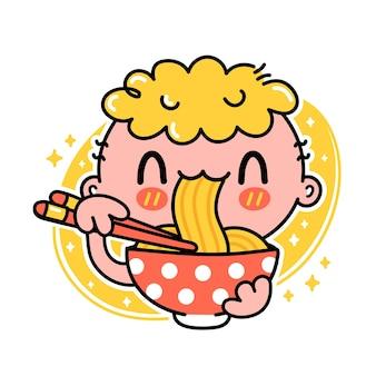 Garoto engraçado e fofo comendo macarrão na tigela
