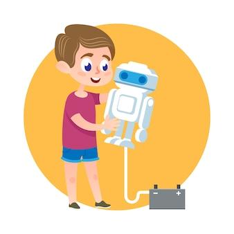 Garoto esperto fazendo robô