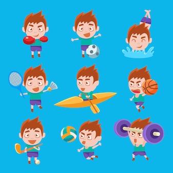 Garoto esportista fazendo diferentes tipos de esporte conjunto de ilustrações