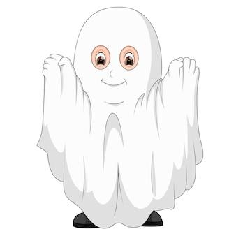 Garoto fantasiado de fantasma