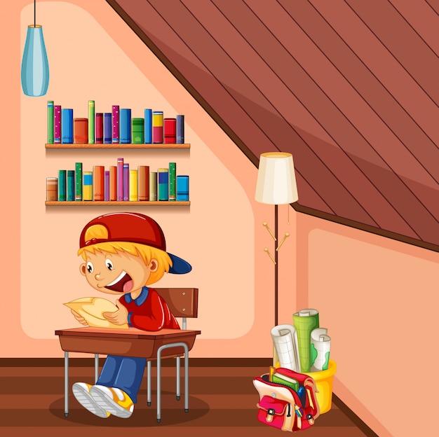 Garoto fazendo lição de casa no quarto com bolsa e livros