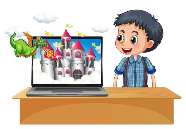 Garoto feliz ao lado do computador com o castelo na tela do desktop