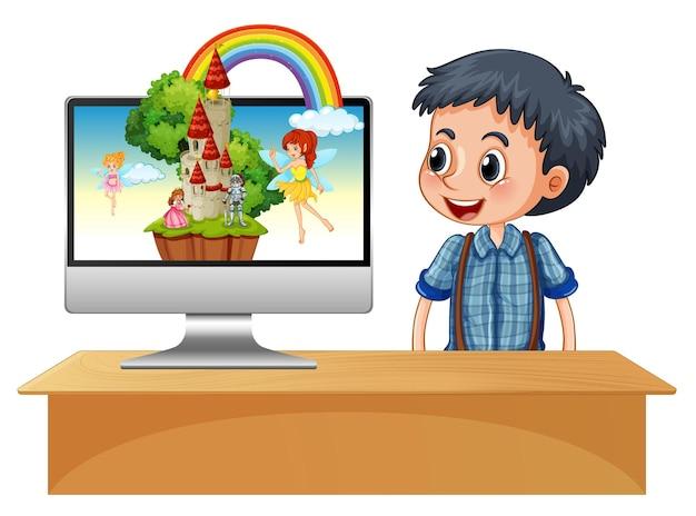 Garoto feliz ao lado do computador com uma fada na tela do desktop