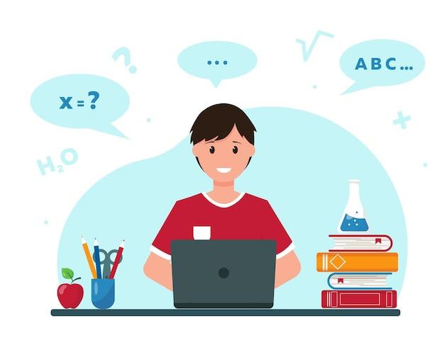 Garoto feliz aprendendo online em casa