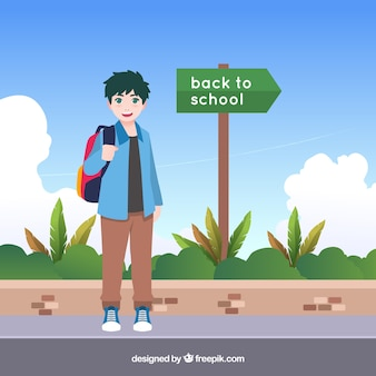 Garoto feliz, caminhando para a escola com design plano