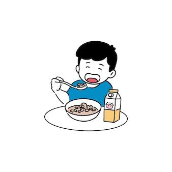 Garoto feliz comendo cereal, conceito de café da manhã, estilo de linha de arte desenhada à mão.