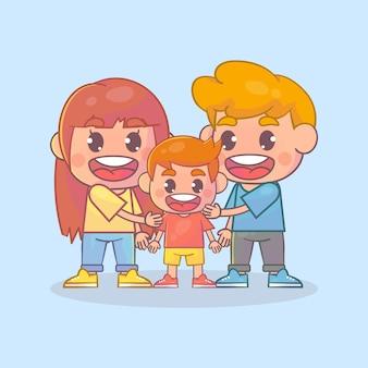 Garoto feliz e fofo com a mãe e o pai