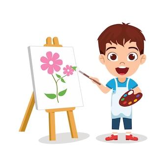 Garoto feliz e fofo desenhando uma bela pintura de flores com uma expressão alegre