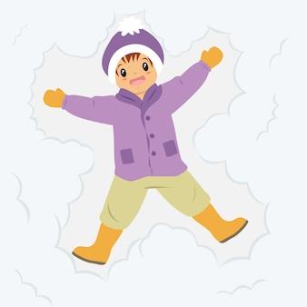 Garoto feliz fazendo anjo de neve, desenho animado