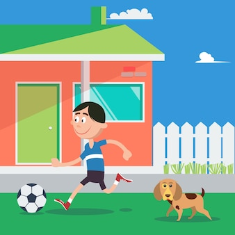 Garoto feliz jogando futebol com cachorro. ilustração vetorial