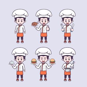 Garoto fofo com ilustração vetorial de desenho de mascote de chef trabalhador