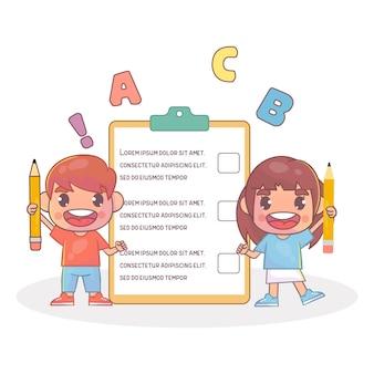 Garoto fofo e feliz, garoto e garota mostram quadro de lista de verificação Vetor Premium