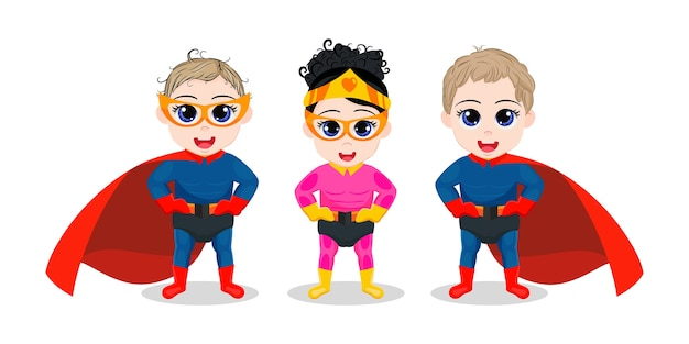 Garoto fofo feliz meninos e super-herói garota posando isolado em um fundo branco