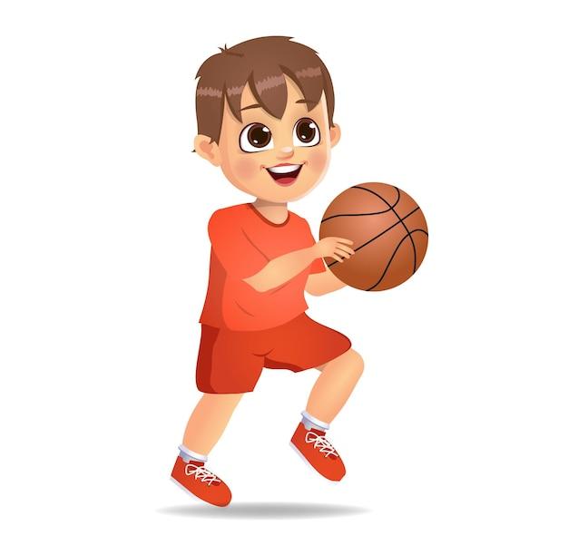 Garoto fofo jogando basquete