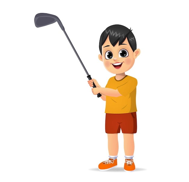 Garoto fofo jogando golfe