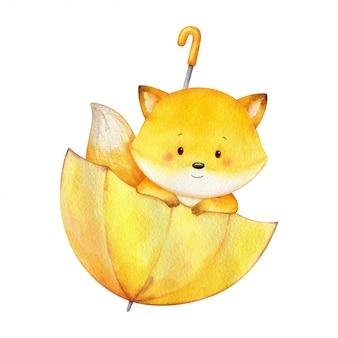 Garoto fox sentado em um guarda-chuva amarelo e olhando para fora. ilustração de personagem bonito pintado à mão em aquarela. ilustração crianças