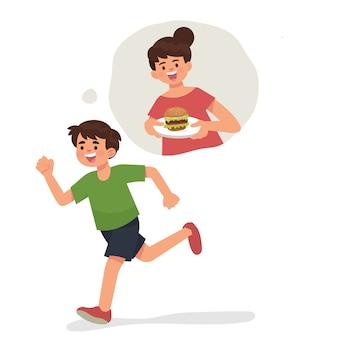 Garoto garoto correndo lembra sua mãe cozinhar