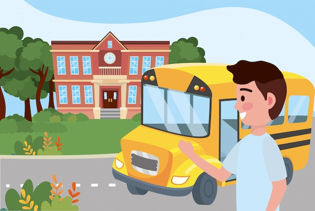 Garoto garoto e escola de ônibus