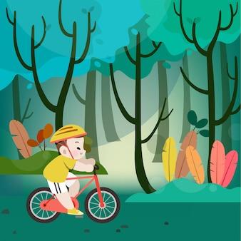 Garoto garoto feliz, andar de bicicleta no morro