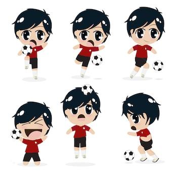 Garoto garoto jogando futebol coleção