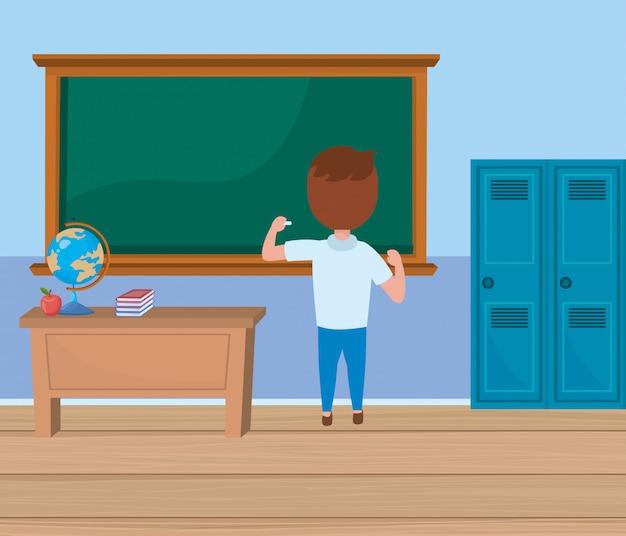 Garoto garoto na escola