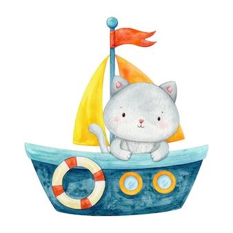 Garoto gato sentado em um barco azul e olhando para fora. ilustração de personagem fofa mão pintada em aquarela