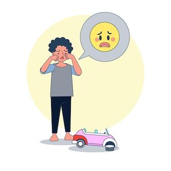 Garoto grande e isolado chorando por causa do carro de brinquedo quebrado. ilustração vetorial com fundo branco