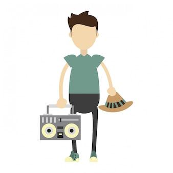 Garoto hipster com ilustração estéreo