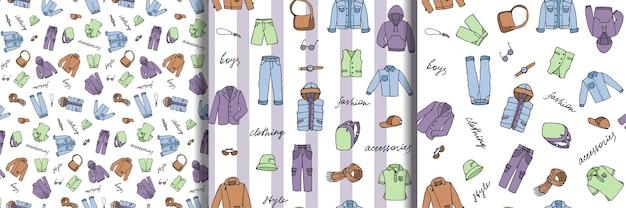 Garoto infantil se veste e letras doodle conjunto de padrões sem emenda