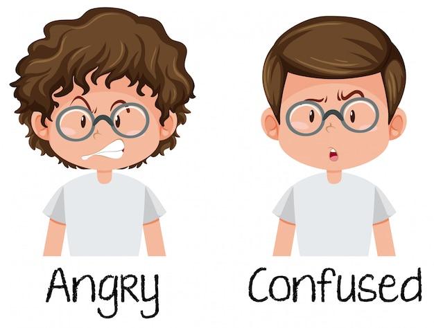 Garoto irritado e confuso