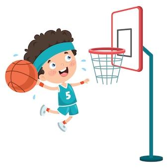 Garoto jogando basquete