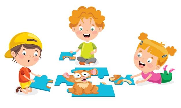 Garoto jogando quebra-cabeça colorido