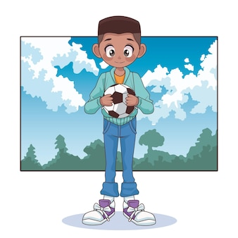 Garoto jovem adolescente afro com balão de futebol na ilustração da paisagem