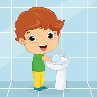 Garoto lavando as mãos