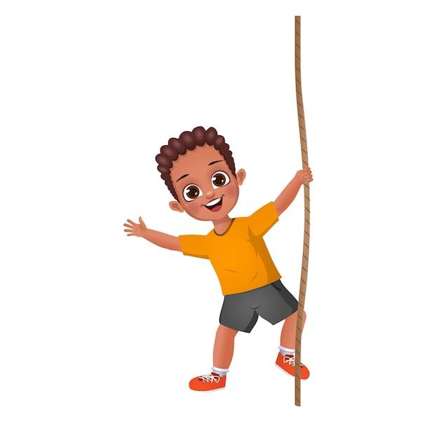 Garoto lindo garoto subindo na corda