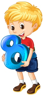 Garoto loiro segurando matemática número oito