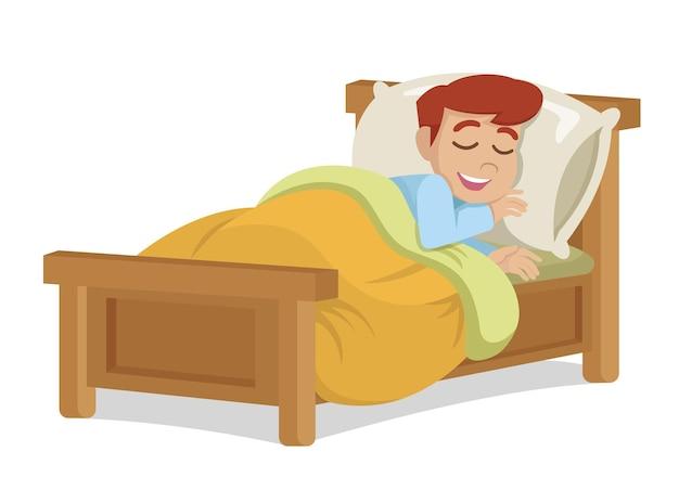 Garoto menino dormindo e sorrindo - vetor eps10
