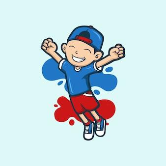 Garoto personagem pulando feliz