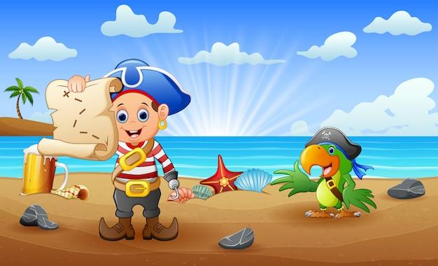 Garoto pirata dos desenhos animados e papagaio, procurando um mapa