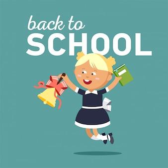 Garoto pronto voltar para a escola.