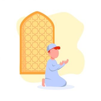 Garoto rezando na ilustração de mesquita