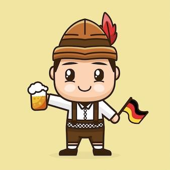 Garoto segurando o copo de cerveja e a bandeira da alemanha